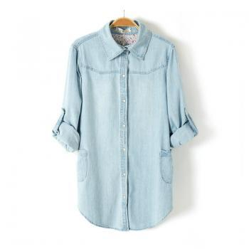 Light Blue Denim Shirt Lapel Long-Sleeved Blouse