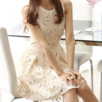 Sleeveless Beige Bodycon Lace Skater Dress Ruffled Skirt Tunique