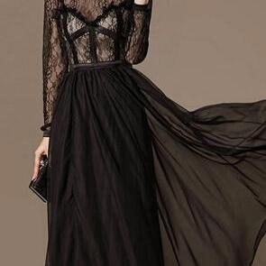 The new early autumn 2014 long sleeve bigger sizes early autumn dress lace show thin waist skirt temperament