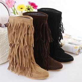 Women's 3 Layer Fringe Tassels Flat Heel Boots Decoration Mid-Calf Slouch Shoes 4 Sizes