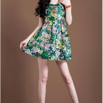 Summer O-Neck Sleeveless Floral Print Chiffon Casual Dress