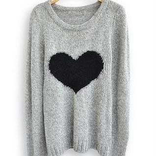 Black Heart Grey Knitted Scoop Neck Long Sleeves Sweater