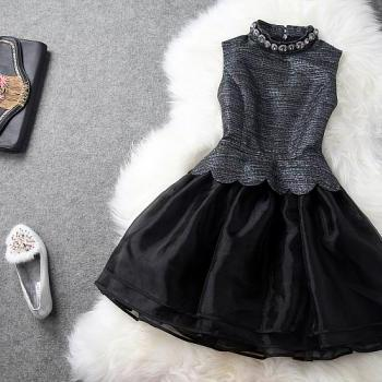 Beaded Lace Dress In Black