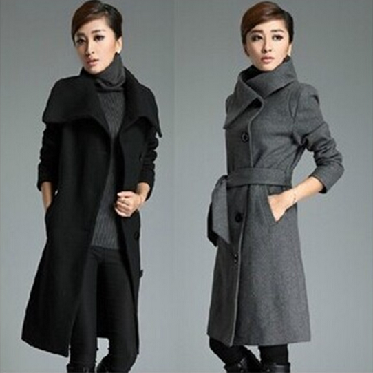 Europe and the United States thickened windbreaker big code lengthen wool coat