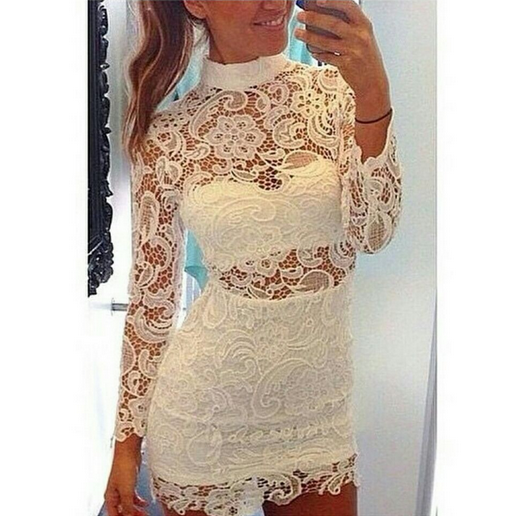 Long Sleeved Hollow Water Soluble Lace Collars Dress