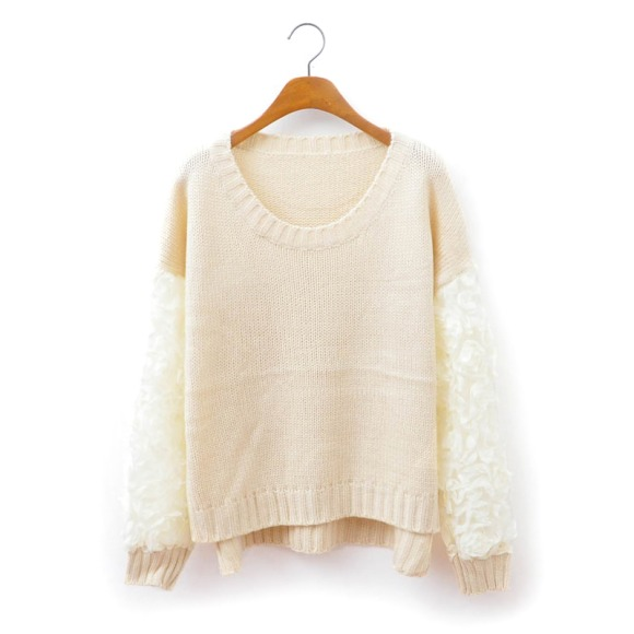 Sexy 3D Rose Flower Stitch Sweater Sleeves And Lace Knit Jumper
