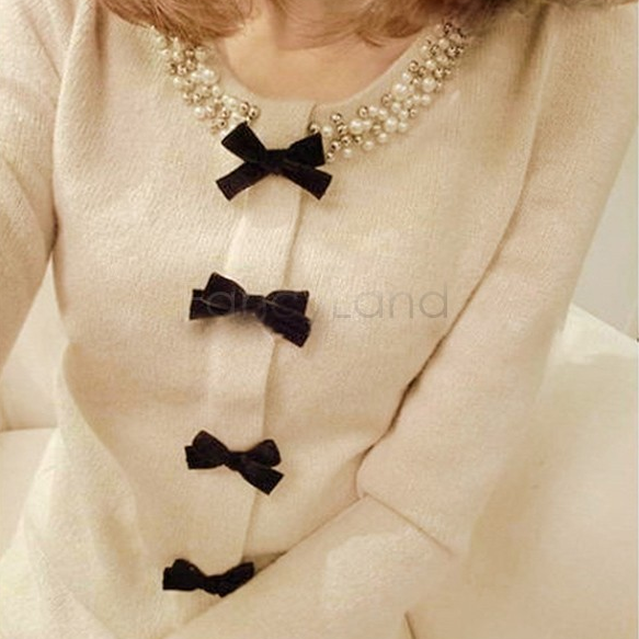 2014 Women Sweaters and Pullovers Long Sleeve Fashion Bead Bowknot Puff Sleeve Knitted Sweater Womens