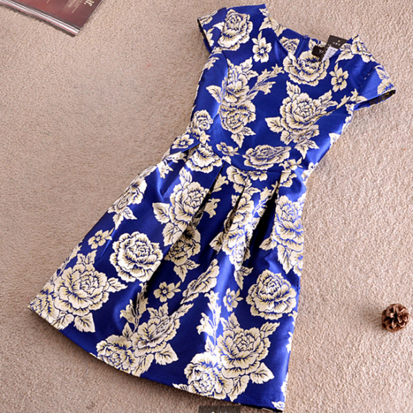 Gold rose temperament cultivate one's morality short sleeve dress