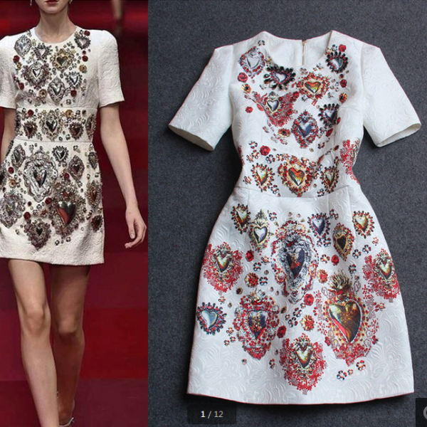 Heavy hammer bead printing round collar short sleeve dress