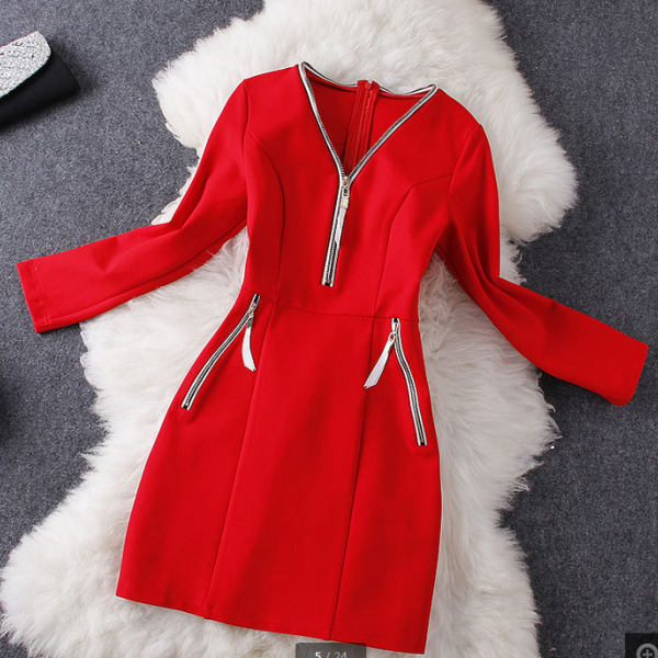 Early fall 2014 new long-sleeved solid color dress neckline zipper in red