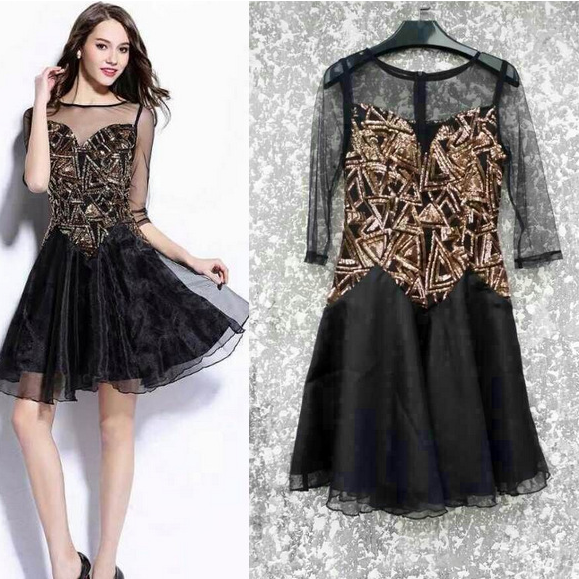 Fashion beaded sequined silk dress