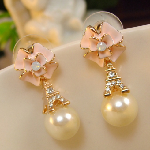 Flowers pearl earrings