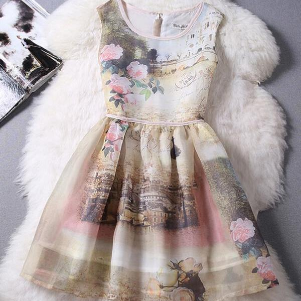 Printed sleeveless organza dress