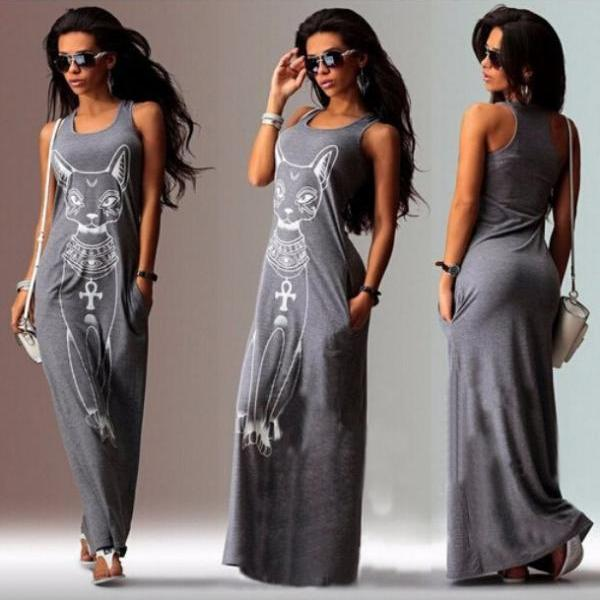 Kitten printed sleeveless long gray dress