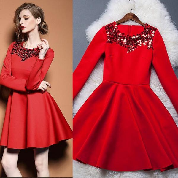 Red sequins long-sleeved dress